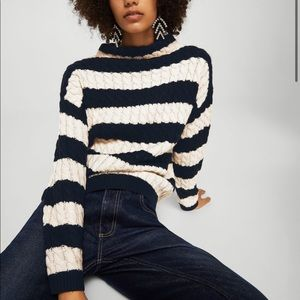 Mango Striped Cable Knit Mock Neck Sweater